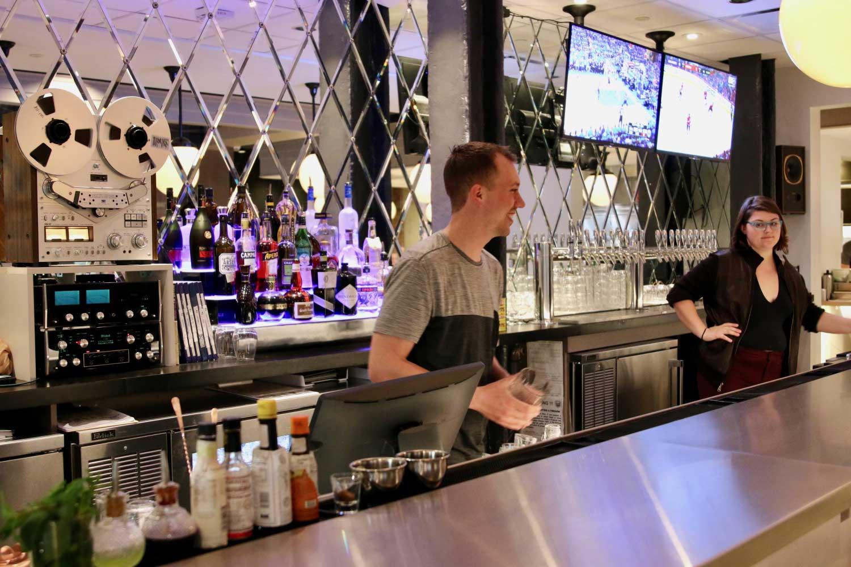 Hot bartender sucks twice